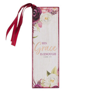 His Grace is Enough Faux Leather Bookmark in Pink Plums – 2 Corinthians 12:9