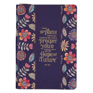 I Know the Plans Purple Faux Leather Classic Journal with Zipped Closure – Jeremiah 29:11