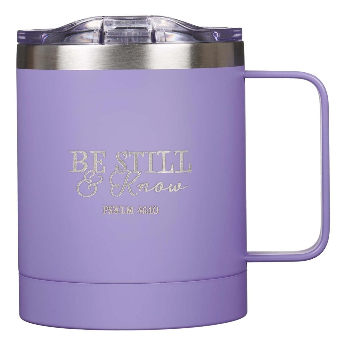 Be Still & Know Lavender Camp Style Stainless Steel Mug - Psalm 46:10